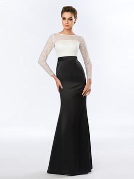 Bateau Long Sleeves Mermaid Lace Floor-Length Evening Dress