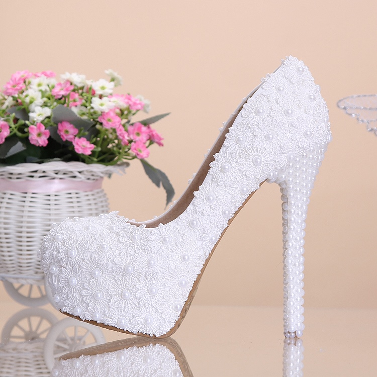 Ericdress_Sweet_Lace_Flower&pearl_Wedding_Shoes