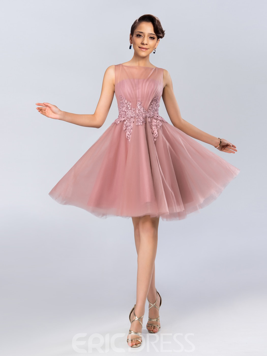 Sheer Bateau Knee Length Cocktail Dress