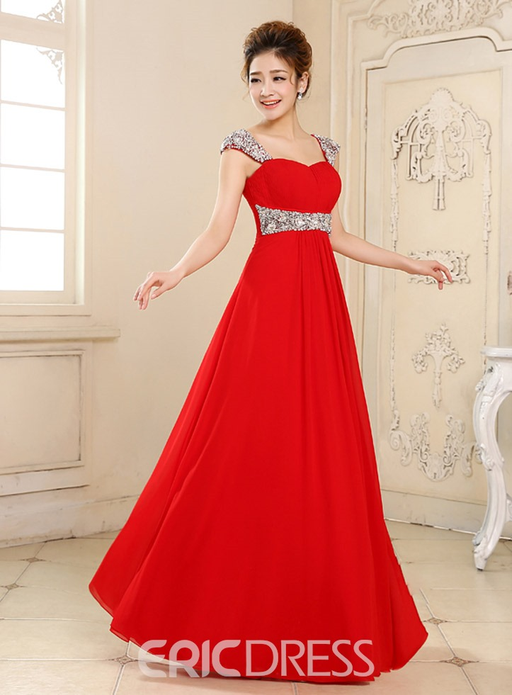 Cap Sleeves A-Line Sweep Train Chiffon Prom Dress