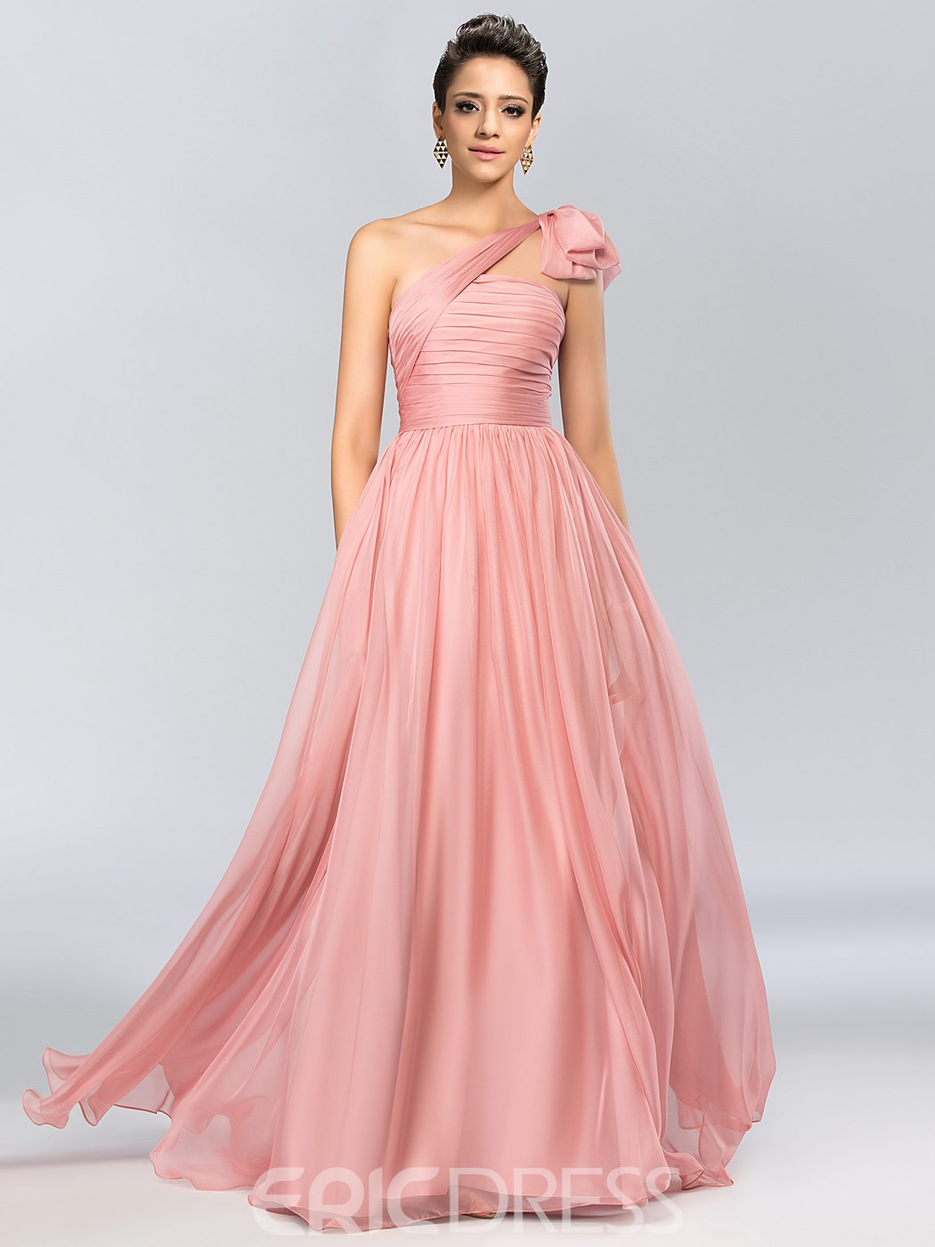 One-Shoulder Ruched Bowknot A-Line Evening Dress