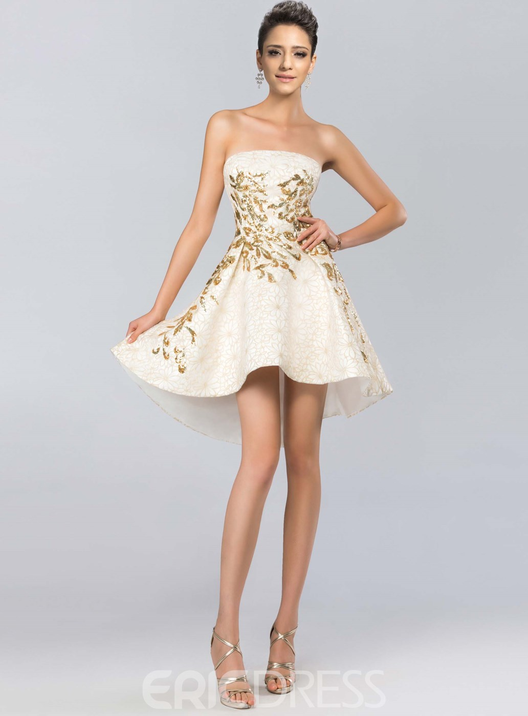 Charming Strapless Sequins Short/Mini Length Cocktail Dress