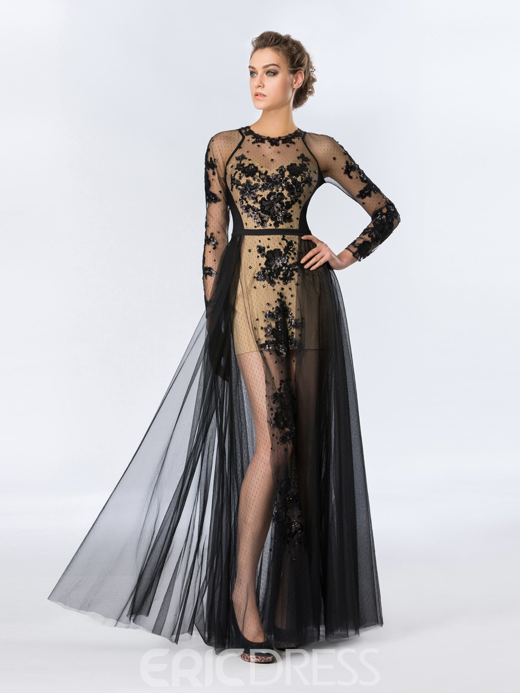 Sexy Jewel Neckline Sequins Appliques Long Sleeves Floor-Length Evening Dress