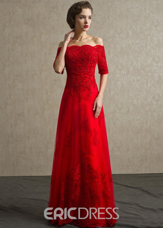 Ericdress A-Line Off -Shoulder Lace Beading Evening Dress 10972102 ...
