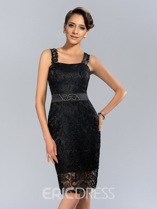 Sexy Straps Knee-Length Lace Cocktail Dress