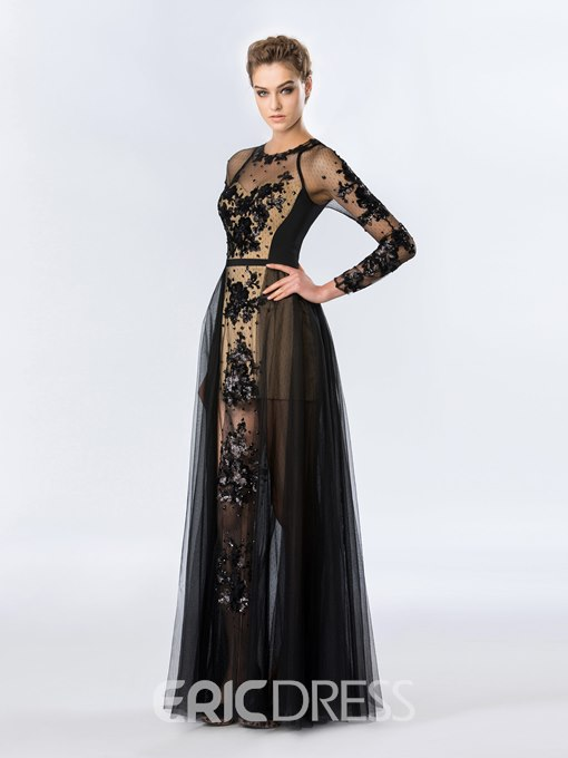 Sexy Jewel Neckline Sequins Appliques Long Sleeves Evening Dress
