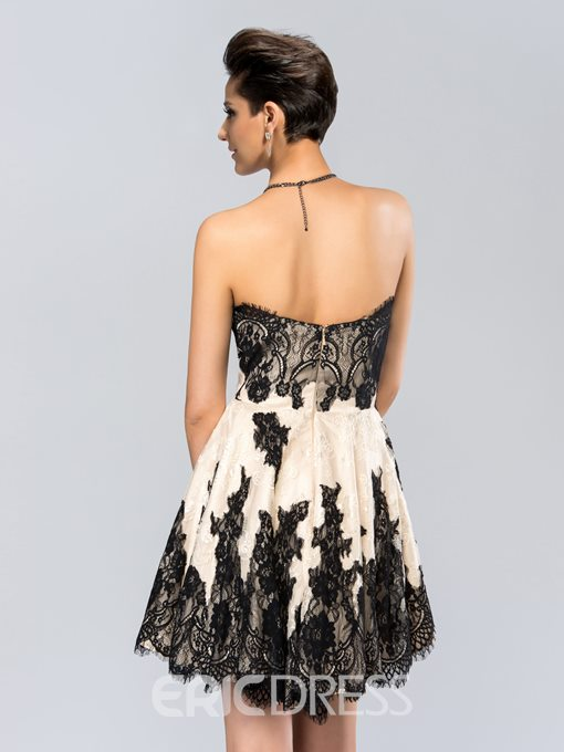 Ericdress Sweetheart Lace Cocktail Dress With Zipper-Up Back