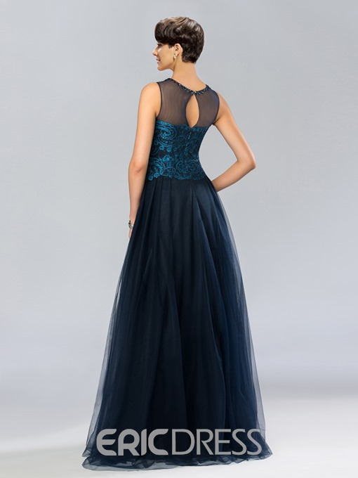 Classic Jewel Neck A-Line Lace Beading Long Evening Dress ed Independently
