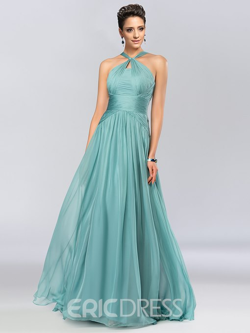 A-Line Halter Floor-Length Evening Dress