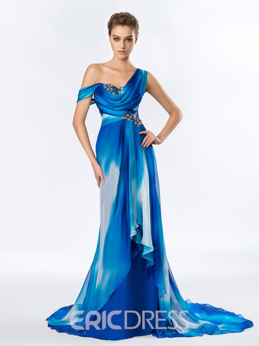 One Shoulder Ruched Beading A-Line Evening Dress