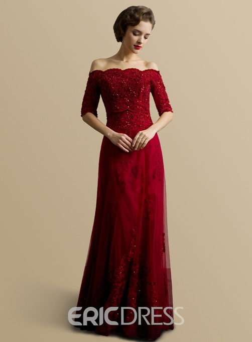 Ericdress A-Line Off -Shoulder Lace Beading Evening Dress