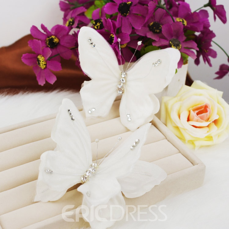 White Butterfly-Shaped Hair Clip