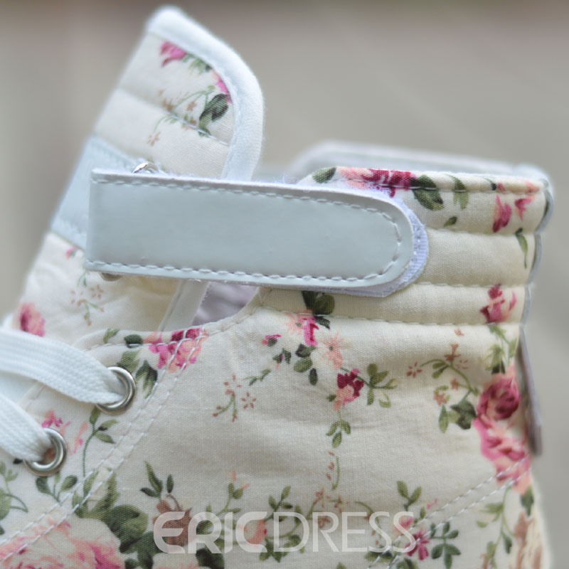 Sweet Floral Print Lace-up Flats