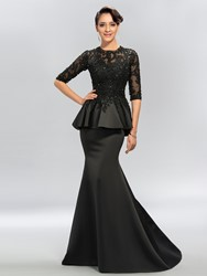 Image of Sexy Trumpet Jewel Applique Half Sleeves Evening Dress