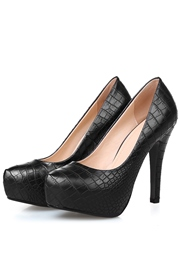 Simple Solid Color Embossed Platform Pumps