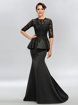 Ericdress Half Long Sleeve Lace Black Mermaid Evening Dress Black Wedding Dresses