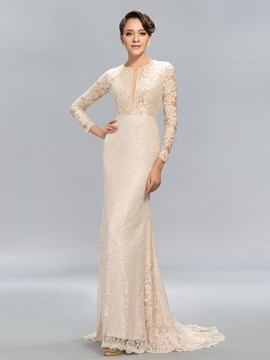Graceful Mermaid A-line Lace Court Train Evening Dress