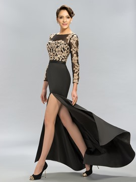 Long Sleeves Mermaid Lace Split Front Evening Dress