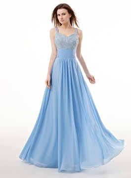 Ericdress A-Line Spaghetti Neck Beading Floor-Length Prom Dress