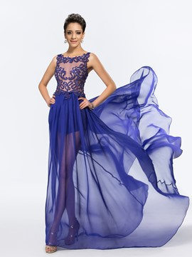 Graceful Sheer Neck Watteau Train Chiffon Evening Dress