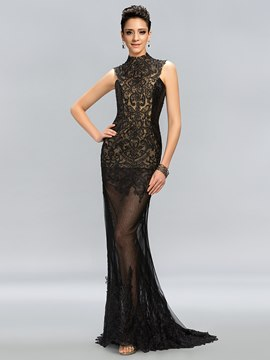 Vintage High Neck Lace Appliques High-Neck Mermaid Evening Dress