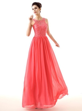 Ericdress Dramatic A-Line Round Neck Sleeveless Chiffon Prom Dress