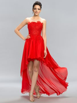 Unique Strapless Lace Zipper-Up High Low Prom Dress