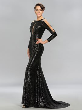 Long Sleeves Sequins Sweep/Brush Train Mermaid Evening Dress