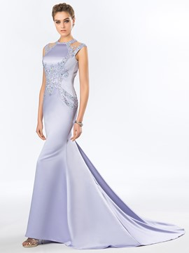 Backless Beading Court Train Mermaid Evening Dress