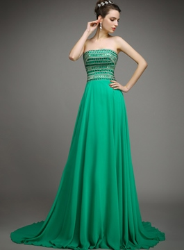 Ericdress A-Line Strapless Beading Sweep Train Evening Dress