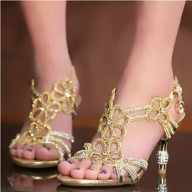 Shining Rhinestones Hollow-outs Stiletto Sandals
