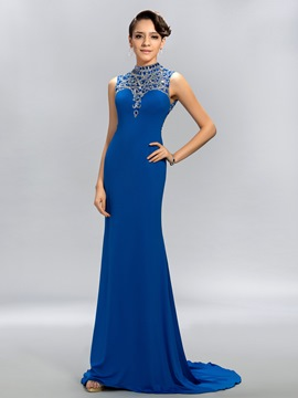 Shining Sheath High-Neck Crystal Evening Dress