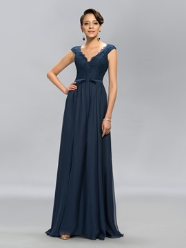 Simple V-Neck Lace A-Line Floor-Length Evening Dress