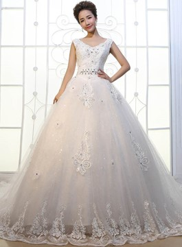 Ericdress V-Neck Appliques Cathedral Train Wedding Dress