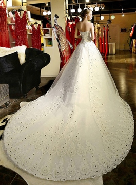 Ericdress Strapless Beading Appliques Cathedral Train Wedding Dress