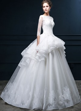 Ericdress Bateau Neck Beading Lace Wedding Dress with Sleeves