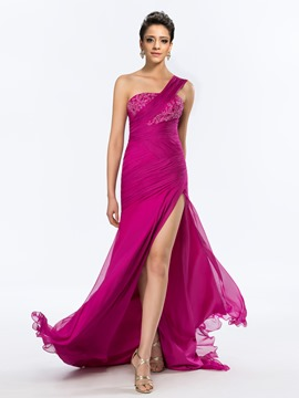 Glorious One-Shoulder Floor-Length Side-Split Evening Dress