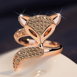 Ericdress Splendid Diamante Fox Open Ring