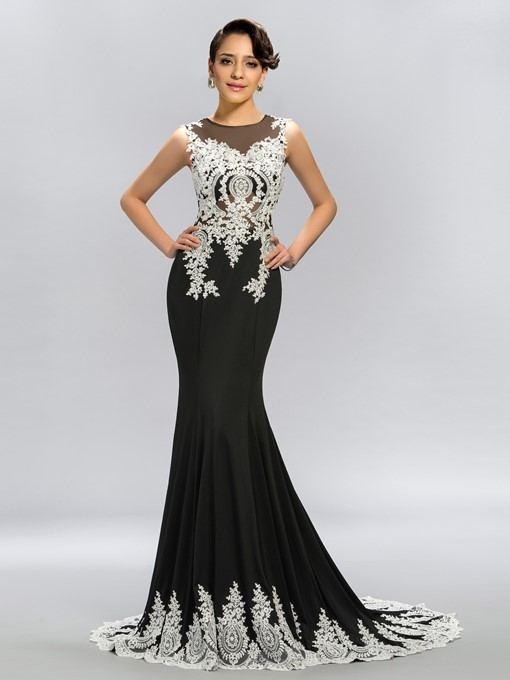 Ericdress Appliques Beading Mermaid Evening Dress