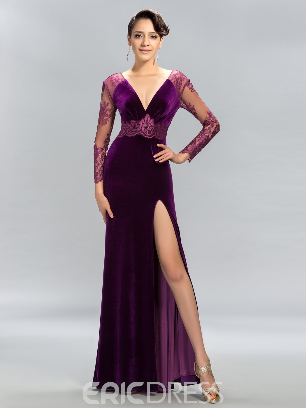 Mermaid Deep V-Neck Lace Split-Front Evening Dress