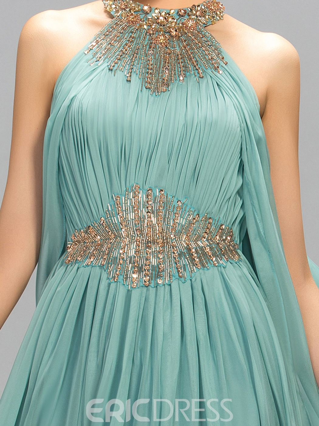 Ericdress Halter Ruffles A-Line Long Evening Dress With Beadings