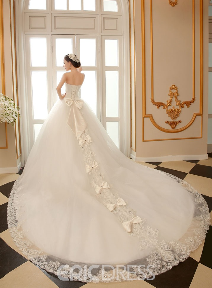 Ericdress Strapless Cathedral Train Wedding Dress 11255629 ...