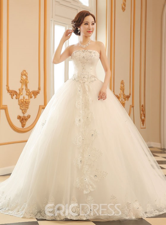 Ericdress Strapless Cathedral Train Wedding Dress