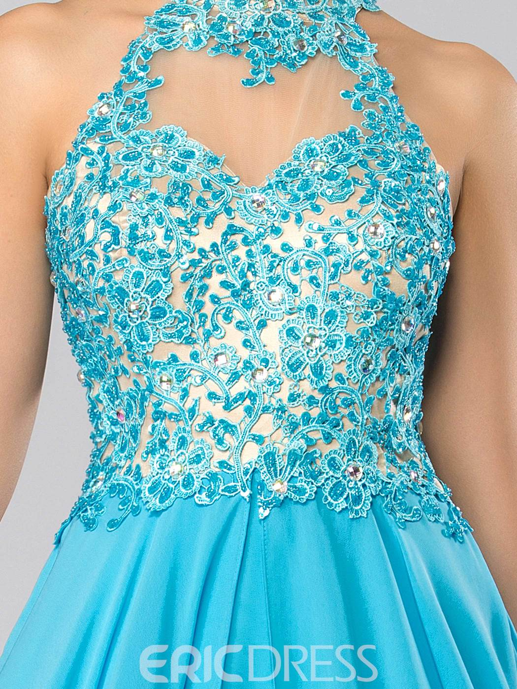 High Neck Appliques Beading Backless Long Prom Dress
