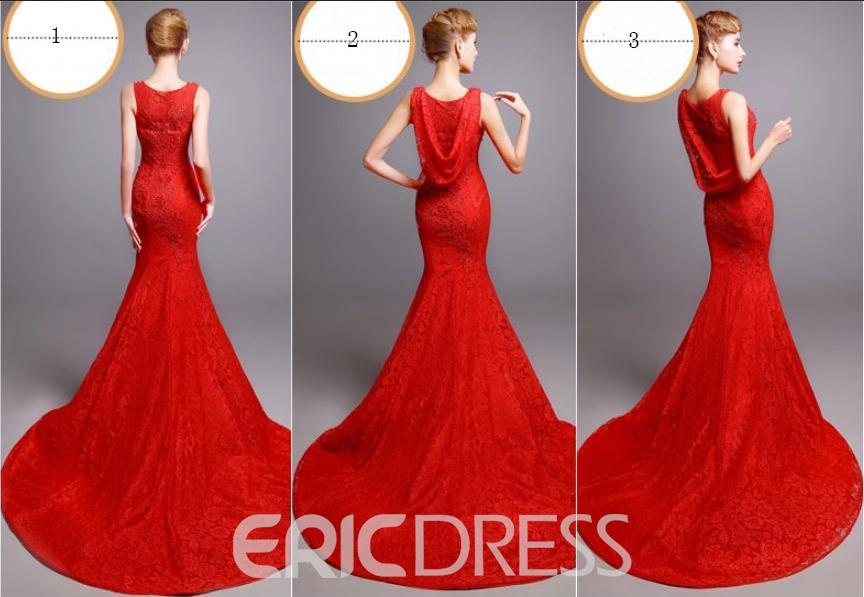 Ericdress Mermaid Lace Evening Dress With Court Train