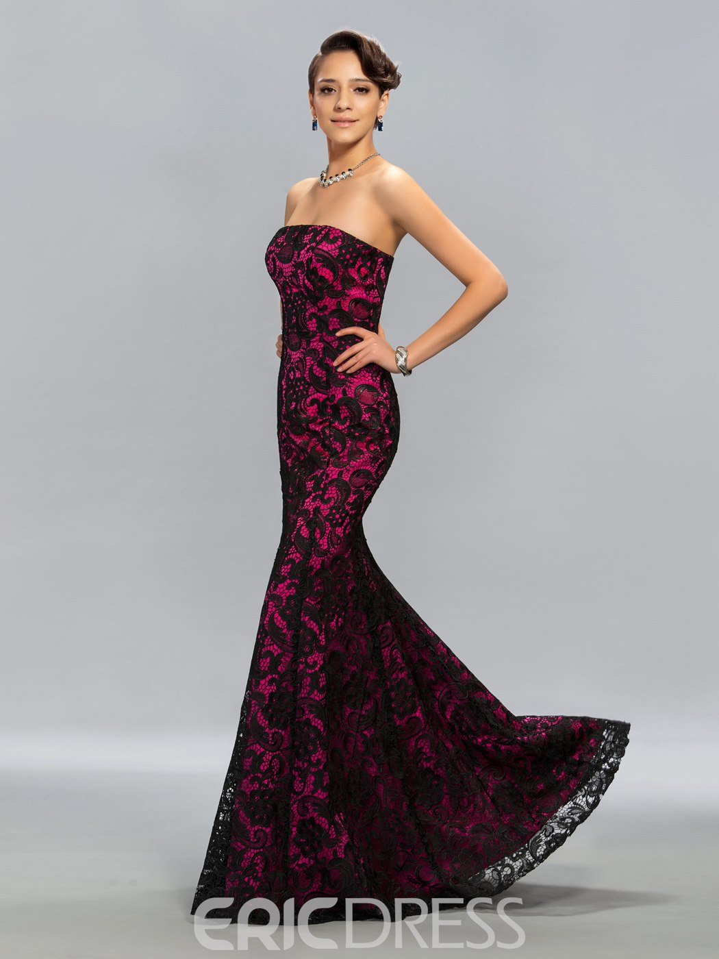 Vintage Strapless Floor-Length Mermaid Evening Dress