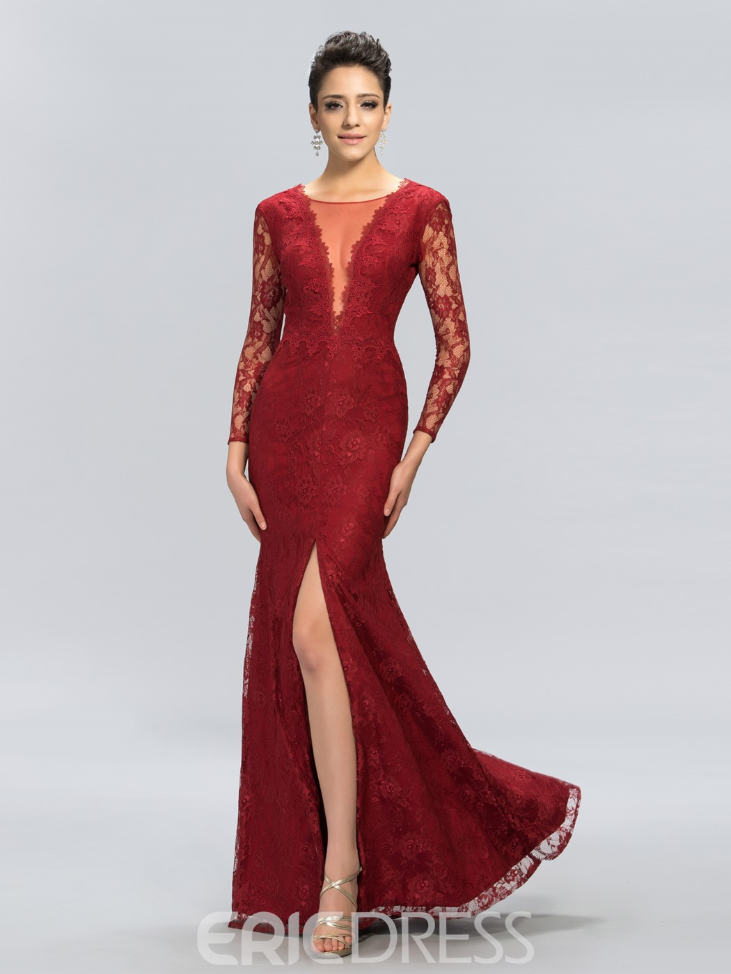 Charming Deep V-Neck Long Sleeve Mermaid Split-Front Evening Dress