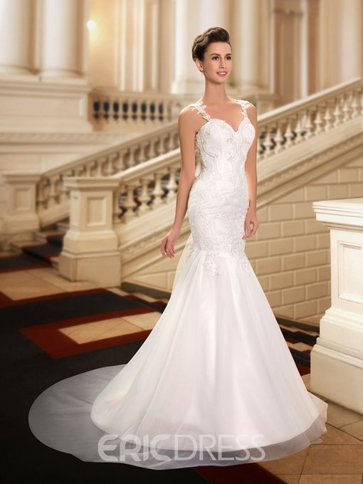 Luxurious Mermaid Straps Appliques Pearls Court Train Wedding Dress