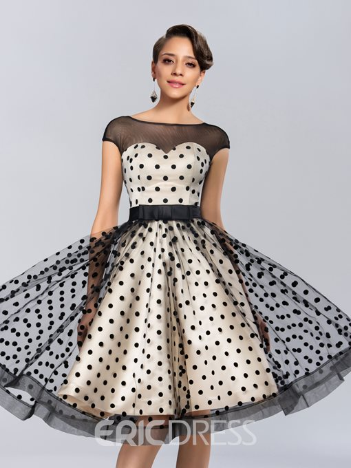Charming A-Line Bateau Cap Sleeves Knee-Length Prom Dress