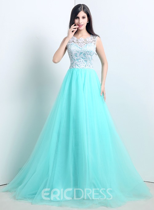 Fascinating A-Line Sleeveless Lace Buttons Court Train Evening Dress